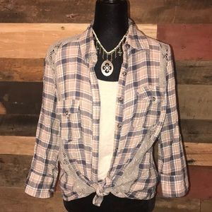 BKE plaid button down with lace/crochet detail